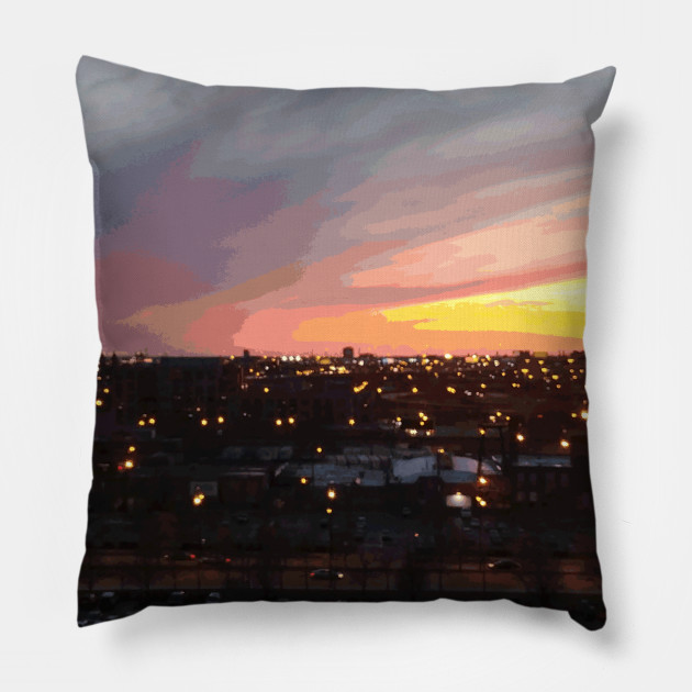 Sunset - April 6, 2018 7:34PM. Pillow by someartworker on Teepublic